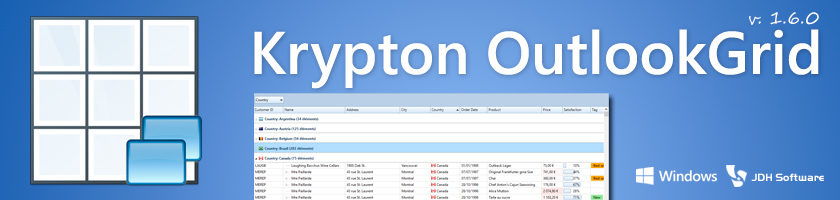 Krypton OutlookGrid Version 1.6.0